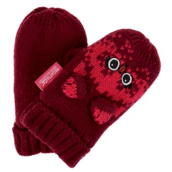 Kids' Animally III Mittens Beetroot Owl