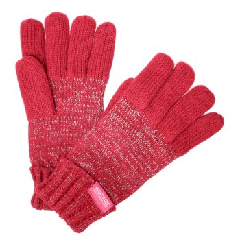 Regatta Kids' Luminosity Reflective Knitted Gloves - Dark Cerise
