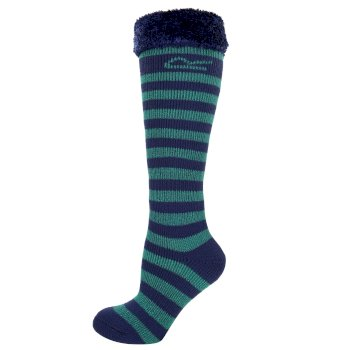 Regatta Kids Fur Collar Striped Wellington Socks Green Navy