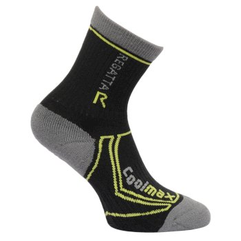 Regatta Kids 2 Season Coolmax Trek & Trail Socks - Black Oasis Green