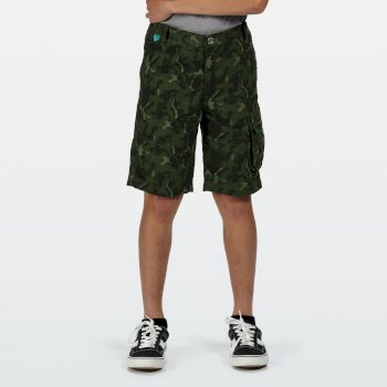 Regatta Kids' Shorewalk Cargo Shorts - Racing Green Camo