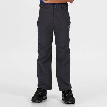 Hikefell Stretch Zip Off-Hose für Kinder Grau