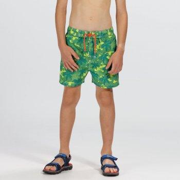 Skander II Schwimmshorts für Kinder limone mit Camouflage-Print