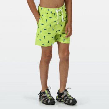 Regatta Kids' Skander II Swim Shorts - Electric Lime Shark Print