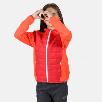 Regatta Kids' Kielder IV Lightweight Hooded Hybrid Jacket - Fiery Coral Coral Blush