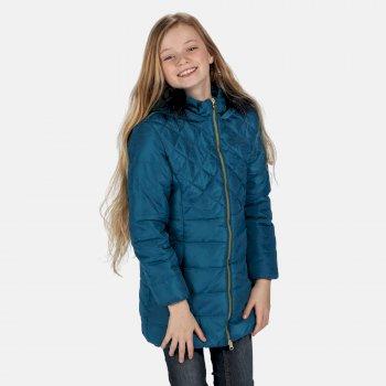 Bernadine isolierte, gesteppte Parkajacke mit Kapuze mit Pelzbesatz für Kinder Blau