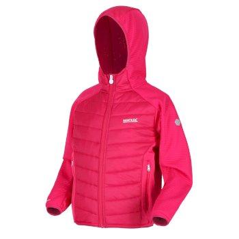 Regatta Kids' Kielder IV Lightweight Hooded Hybrid Walking Jacket - Dark Cerise Duchess