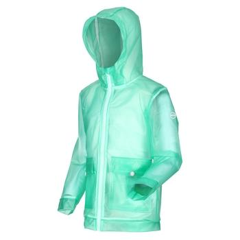 Hallow Wasserdichte, durchsichtige Jacke mit Kapuze für Kinder Grün