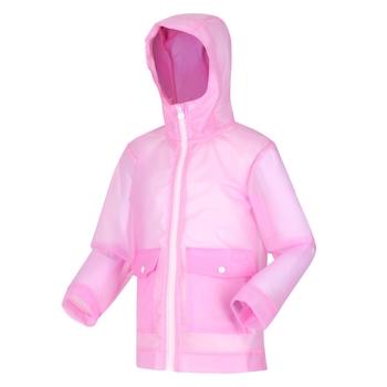 Hallow Wasserdichte, durchsichtige Jacke mit Kapuze für Kinder Rosa