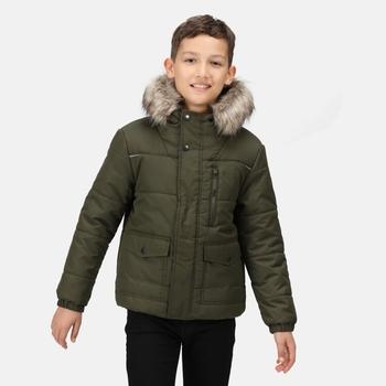 Parvaiz isolierte, gefütterte Jacke mit Pelzbesatz und Kapuze für Kinder Grün