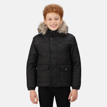 Parvaiz isolierte, gefütterte Jacke mit Pelzbesatz und Kapuze für Kinder Schwarz