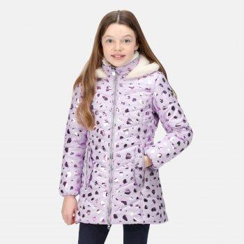 Branwen isolierte, gesteppte Jacke mit Kapuze und Leopard-Print für Kinder Lila