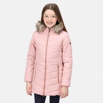Fabrizia isolierte Jacke mit Pelzbesatz und Kapuze für Kinder Rosa