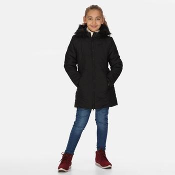 Fabrizia isolierte Jacke mit Pelzbesatz und Kapuze für Kinder Schwarz