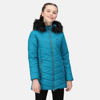 Fabrizia isolierte Jacke mit Pelzbesatz und Kapuze für Kinder Grün