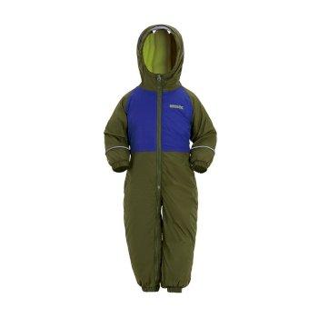 Regatta Kids' Mudplay III Breathable Waterproof Puddle Suit - Cypress Green Surf Spray