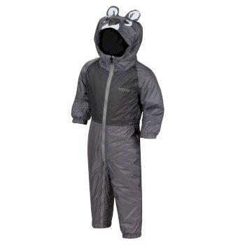 Regatta Kids' Mudplay III Breathable Waterproof Puddle Suit - Grey Koala