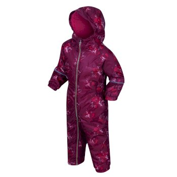 Regatta Kids' Printed Splat II Puddle Suit - Beetroot Floral