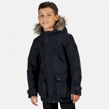 Regatta Kids' Pazel Waterproof Insulated Fur Trimmed Hooded Parka Jacket - Navy