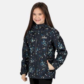 Brina wasserdichte, isolierte, bedruckte Jacke mit Kapuze für Kinder Blau