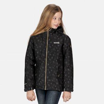 Brina wasserdichte, isolierte, bedruckte Jacke mit Kapuze für Kinder Schwarz