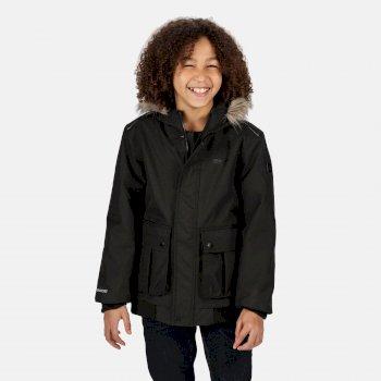 Balzo wasserdichte, isolierte Jacke mit Kapuze mit Pelzbesatz für Kinder Schwarz