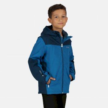 Highton wasserdichte, isolierte, wattierte Walkingjacke mit Kapuze für Kinder Blau