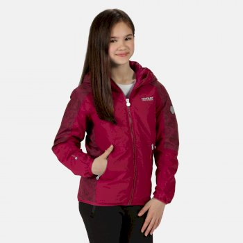 Regatta Kids' Volcanics IV Waterproof Insulated Reflective Hooded Walking Jacket - Dark Cerise Beetroot