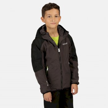 Regatta Kids' Volcanics IV Waterproof Insulated Reflective Hooded Walking Jacket - Magnet Black