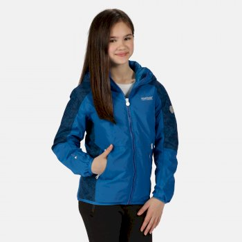 Regatta Kids' Volcanics IV Waterproof Insulated Reflective Hooded Walking Jacket - Imperial Blue Deep Space