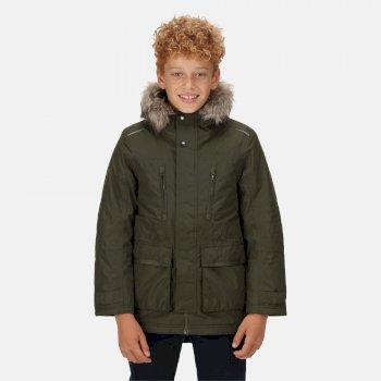 Podrick wasserdichte und isolierte Parka-Jacke mit Pelzkapuze für Kinder Grün