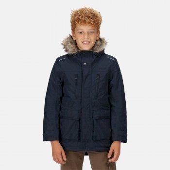 Podrick wasserdichte und isolierte Parka-Jacke mit Pelzkapuze für Kinder Blau