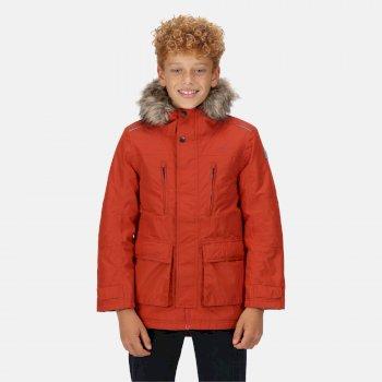 Podrick wasserdichte und isolierte Parka-Jacke mit Pelzkapuze für Kinder Rot