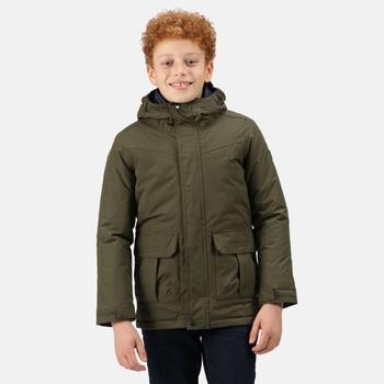 Bardron wasserdichte und isolierte Jacke mit Kapuze für Kinder Grün