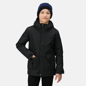 Bardron wasserdichte und isolierte Jacke mit Kapuze für Kinder Schwarz