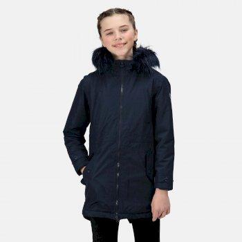 Abbettina wasserdichte und isolierte Parka-Jacke mit Kapuze für Kinder Blau