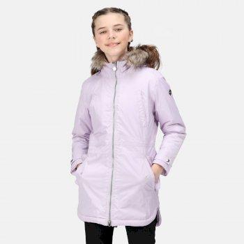 Abbettina wasserdichte und isolierte Parka-Jacke mit Kapuze für Kinder Lila