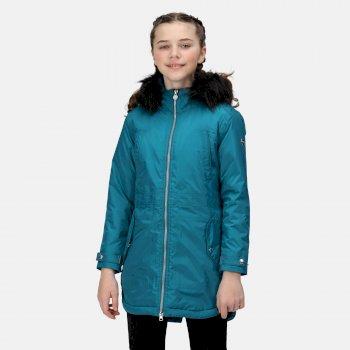 Abbettina wasserdichte und isolierte Parka-Jacke mit Kapuze für Kinder Grün