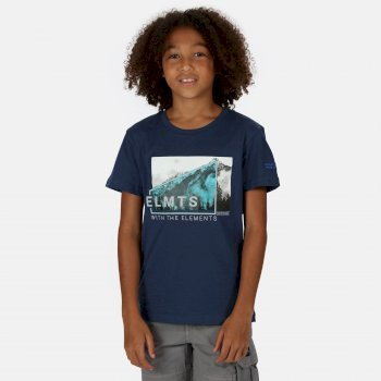 Regatta Kids' Bosley III Printed T-Shirt - Dark Denim Mountain Print