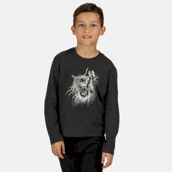 Regatta Kids' Wenbie Coolweave Printed Long Sleeve T-Shirt - Seal Grey
