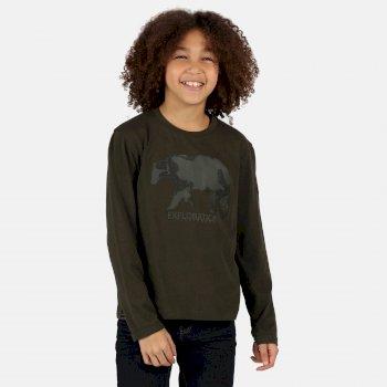 Wenbie langärmeliges, bedrucktes Shirt aus Coolweave für Kinder Grün