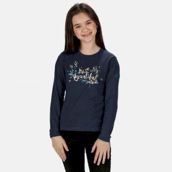 Wenbie langärmeliges, bedrucktes Shirt aus Coolweave für Kinder Blau