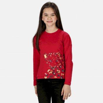 Wenbie langärmeliges, bedrucktes Shirt aus Coolweave für Kinder Rosa