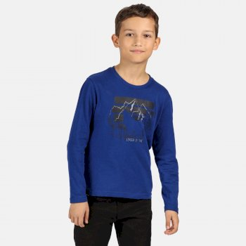 Regatta Kids' Wenbie Coolweave Printed Long Sleeve T-Shirt - Bright Royal