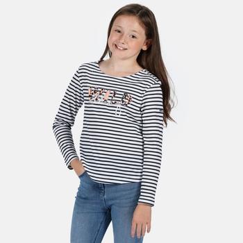 Carmella III Gestreiftes Langarmshirt mit Aufdruck für Kinder Blau