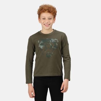 Wenbie II bedrucktes Langarmshirt für Kinder Grün