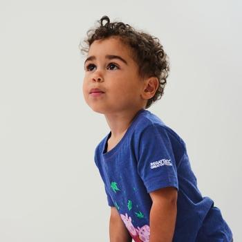 Peppa Wutz bedrucktes T-Shirt mit kurzen Ärmeln Blau