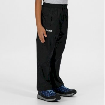 Regatta Kids Pack It Waterproof Packaway Overtrousers Black