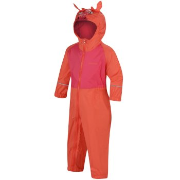 Regatta Kids' Charco Waterproof Puddle Suit - Neon Peach