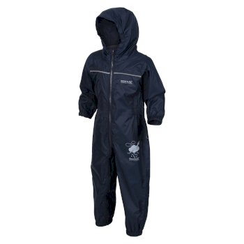 Regatta Kids Puddle IV Breathable Waterproof Puddle Suit - Navy
